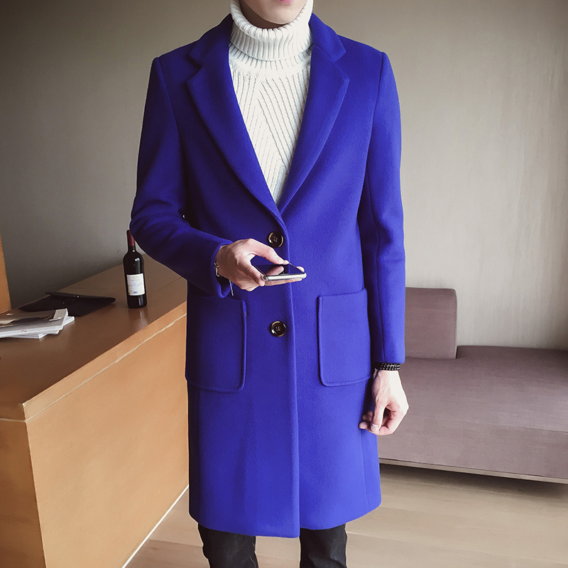 New Winter Overcoat Wool Coat Men Leisure Long Sections Woolen Coats Men's Pure Color Casual Fashion Jackets