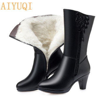 AIYUQI High Quality Women Winter Boots Cow Leather Long Winter Boots High Heel Wool Warm Female Tassel Boots
