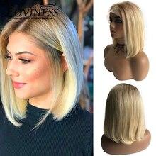 Lace Wig Cut-Wigs Short Human-Hair Free-Part Ombre Blonde Virgin Pre-Plucked Brazilian