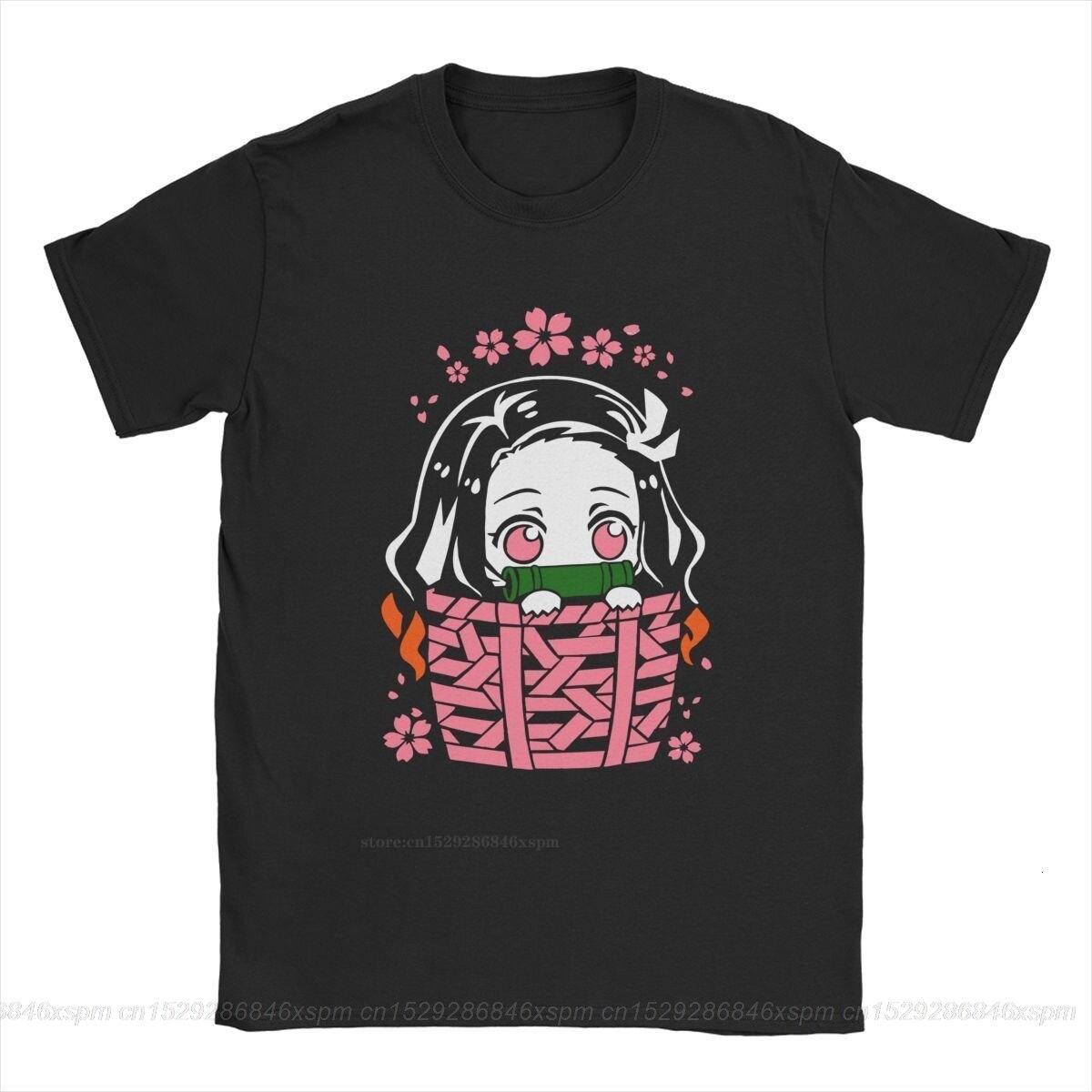 one yona Nezuko T-Shirts Men Cotton T Shirt Demon Slayer Kimetsu No Yaiba Kamado Tanjirou Anime Manga Tee Shirt 4XL 5XL(China)