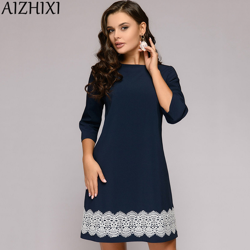 AIZHIXI Lace Trim 3/4 Sleeve Straight Dress Autumn Round Neck Casual Mini Women Dresses Navy Blue Elegant Office Lady Workwear