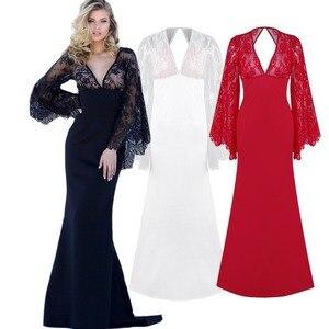 Элегантное женское длинное кружевное вечернее платье с v-образным вырезом, сексуальное вечернее платье для выпускного вечера, высококачест...