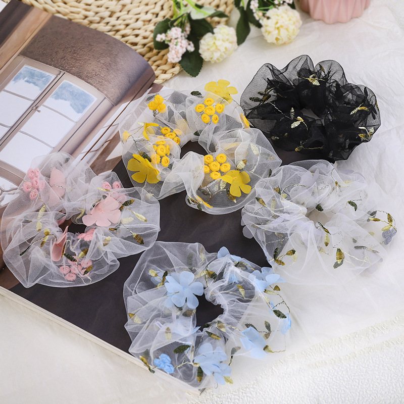 Girls Rubber Band Rope Elastic Scrunchies Ponytail Holder Daisy Floral Thin Mesh Hair Rope Ties Headwear Accessories