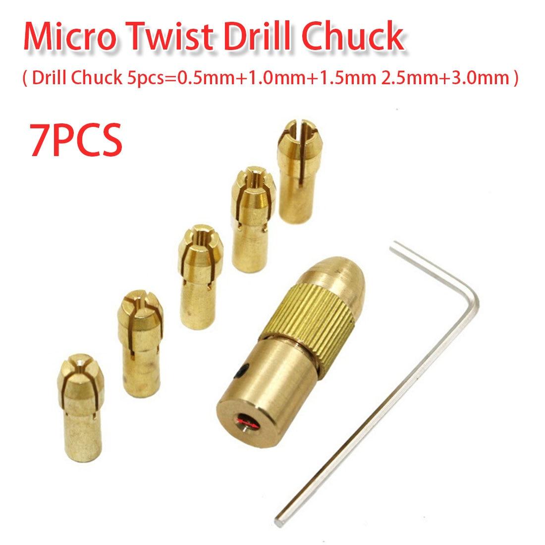 0.5-3.0mm Brass Drill Chuck Electric Drill Bit Collet Twist Drill Chuck Set 2.35mm Shank For ABS/ Light Wood Board/ Cardboard