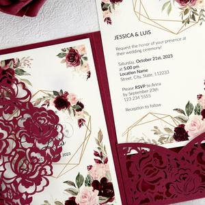 Image 4 - 100pcs Burgundy Laser Cut Floral Invitation Cards for Wedding / Party / Quinceanera / Anniversary /  Birthday, CW0008