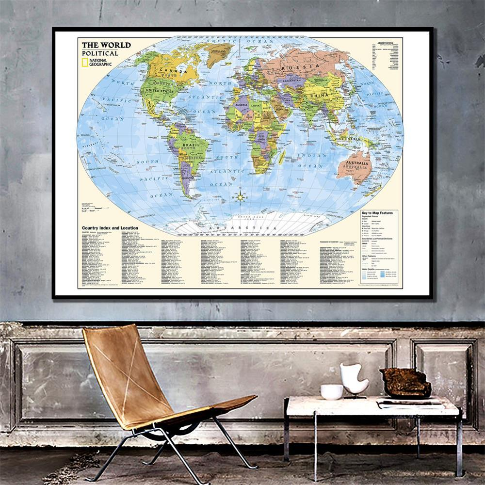 150x100cm The World Physical With Country Index And Location And The Key To Map Feature For Culture And Education
