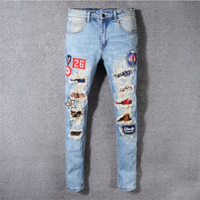2019 New Arrival Top Quality Popular Designer Men Denim Famous Brand Jeans Embroidery Pants Fashion Holes Trousers Italy style