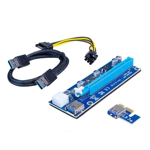 Image 4 - 6 Pack 6 Pin PCIe PCI E Express 1X to 16X Riser Card with 6 Pin PCI E to 15 Pin SATA Power Cable and 60cm USB 3.0 Cable
