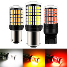 1 pces 1156 ba15s p21w bau15s py21w t20 7440 w21w 1157 lâmpadas led 144 smd led canbus nenhuma lâmpada de erro para a luz do sinal de volta nenhum flash