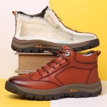 New Men Plush Warm Leather Snow Boots Fashion Winter Top Brand