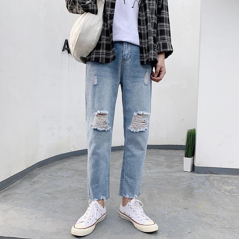Spring Summer Flash Cowboy Pants Men Trend Korean-style Slim Fit Ripped Jeans Popular Brand Capri Pants Versatile Ripped Pants