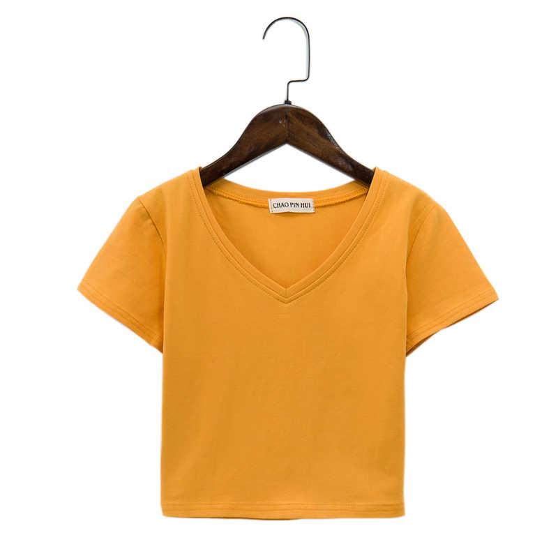 Топ Для женщин 2019 летние хлопковые Свободные повседневные блузки белая футболка пикантные тонкие женские v-образный вырез футболки с коротким рукавом 7 цветов