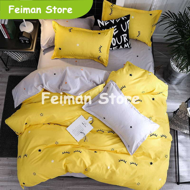 New style Big eyes Minions Cartoon bedding sets Duvet cover set pillowcase falt sheet 3 / 4pcs