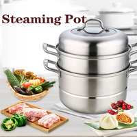 Stainless Steel Three layer Steamer Large Capacity Double layer Multifunctional Steamer 28cm Thickened Soup Steamer Sheet|Food Processors| |  -