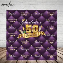 Sensfun Purple Theme Happy 50 Birthday Party Backgrounds For Photo Studio Champagne Gold Ribbon Photography Backdrop Custom