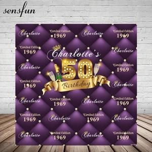 Image 1 - Sensfun Purple Theme Happy 50 Birthday Party Backgrounds For Photo Studio Champagne Gold Ribbon Photography Backdrop Custom