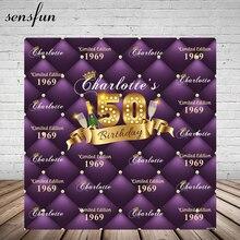 Sensfun fioletowy motyw szczęśliwy 50 urodziny tło do zdjęć Studio szampańskie złoto wstążka fotografia tło niestandardowe