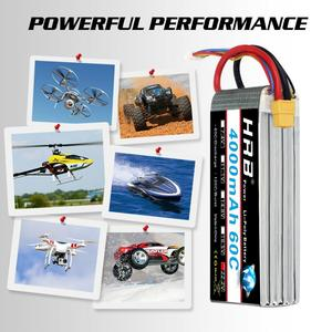 Image 5 - HRB RC Lipo Battery 3S 4S 5S 6S 4000mah 14.8v 22.2v Lipo 60C XT60 plug  for rc car boat drone trex 500 550 600E Align helicopter