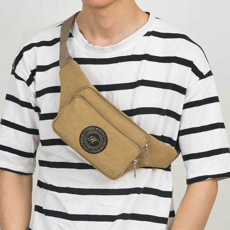 Outdoor Casual Sports Hidden Belly Bag Waterproof Wearable Mobile Phone Bag Cash Storage Bag Retro Canvas Waist Pack Bag