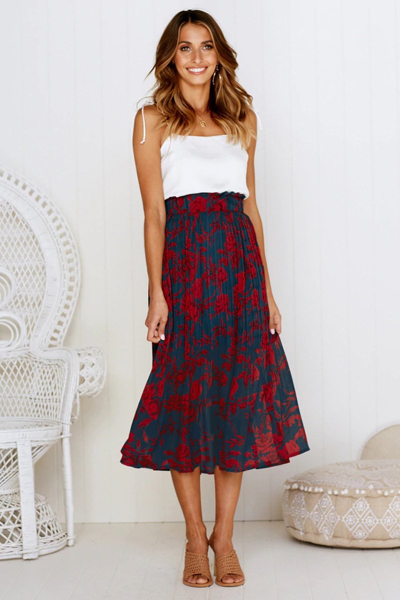 Hf3d76510b6a843aabc08def1eaa604a8k - Summer Casual Chiffon Print Pockets High Waist Pleated Maxi Skirt Womens Long Skirts For Women