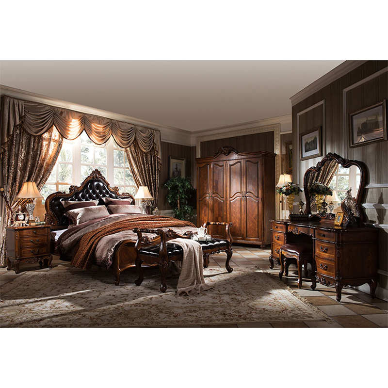 american high end solid wood bedroom furniture set leather bed derevyannaya mebel dlya spalni kozhanaya krovat gh08