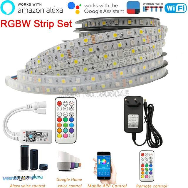 12V 5050 RGBW RGBWW HA CONDOTTO La Striscia 60LEDs/m 5m con mini 21Key RF WiFi Remote Controller alexa Google Voice Control + Alimentazione