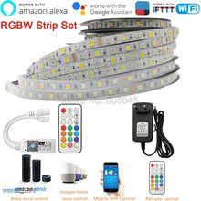 شريط LED 12 فولت 5050 RGBW RGBWW 60 مصباح LED/متر 5 متر مع جهاز تحكم عن بعد صغير 21Key RF واي فاي اليكسا جوجل التحكم الصوتي + امدادات الطاقة
