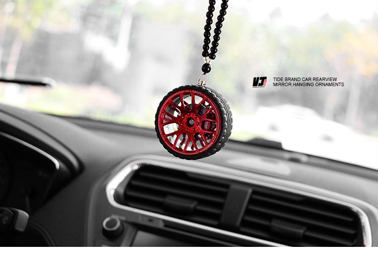 AnHua 1 Pcs Creative Car Tire Ornament Decorations Pendant Wheel Hub Car Rear View Mirror Hanging Accessories Simulation Car Decoration
