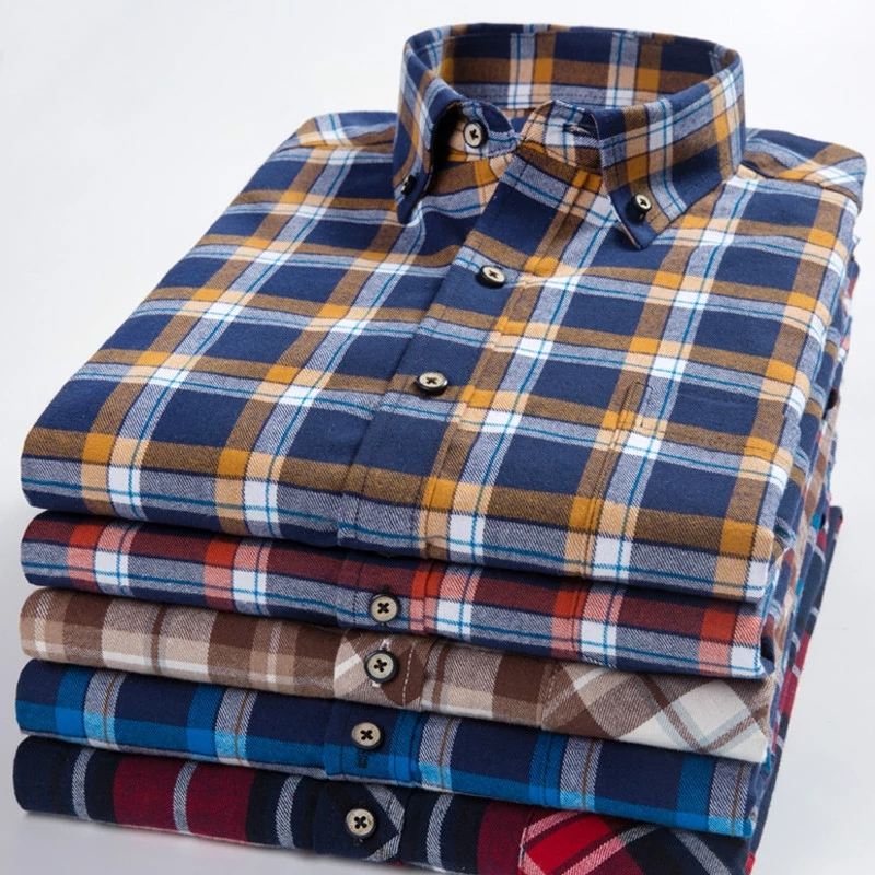 Pure Cotton High Quality Large Size 8XL 7XL 6XL Men's Shirts Long Sleeve Flannel Plaid Dress Shirt Male Casual Slim Fit Clothing