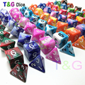 Высокое качество, хит, 7 шт., D4-D20, многогранные игры, кубики, двойной цвет, близнецы, кости, набор с эффектом туманности, акриловый пластиковый ...
