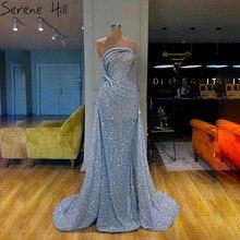 Azul fora do ombro sexy sereia vestidos de noite 2020 dubai strapless brilho lantejoulas noite sereno hill la70403