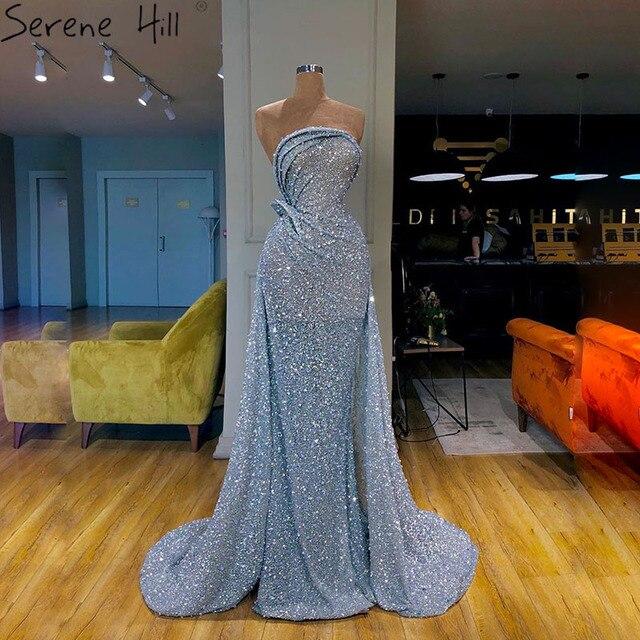 Blue Off Shoulder Sexy Mermaid Evening Dresses 2020 Dubai Strapless Sparkle Sequins Evening Gowns Serene Hill LA70403