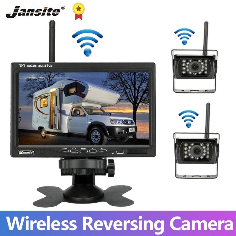 Jansite 7 pouces camion Kit de caméra de stationnement arrière sans fil 12V-24V moniteur pour RV Bus monospace camping-car Image inverse vision nocturne