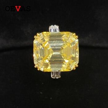 OEVAS 30 캐럿 토파즈 여성용 하이 카본 다이아몬드 결혼 반지 솔리드 925 스털링 실버 스파클링 약혼 파인 쥬얼리