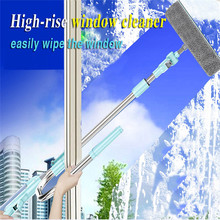 360 degree flexible Telescopic High-rise Cleaning Glass Sponge Mop Multi Cleaner Brush Washing Windows Dust U shape