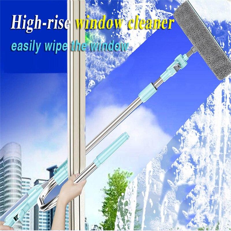 360 graus flexível Telescópica High-rise Limpeza Esponja Mop Multi Limpador de Vidro Escova de Lavar Janelas Poeira Escova de forma U