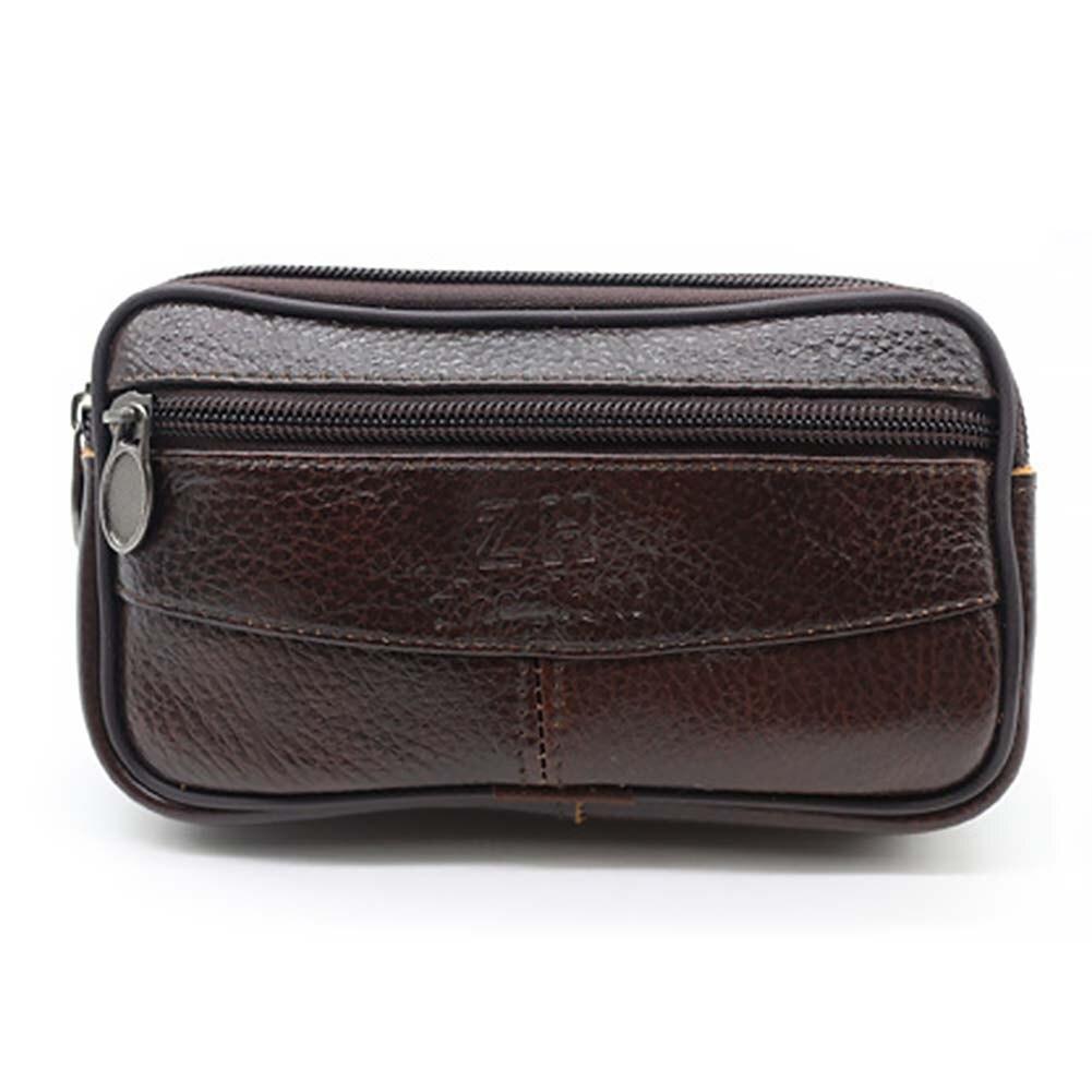 Men Outdoor Zipper Messenger Bag PU Leather Travel Cellphone Pouch Hiking Cross Body Portable Coin Purse Casual Waist Bag