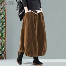 Skirts ZANZEA Elastic-Waist Vintage Women Solid Faldas Saia Jupe Vestidos Loose Female