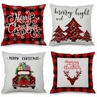 4x dekoracja świąteczna szczęśliwego nowego roku poszewka na poduszkę pokrywa kwadratowa poszewka na poduszkę w Poszewka na poduszkę od Dom i ogród na