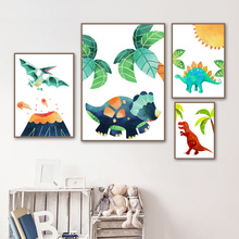 Dinosaur Baby Dino Theme Toddler Wall Art Canvas Painting Posters And Prints Wall Pictures Boys Girls Kids Room Playroom Decor