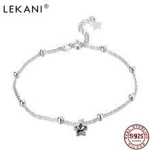 LEKANI, Настоящее серебро 925, ножные браслеты, синяя звезда, звездное, элегантное, австрийский кристалл, подвеска, Пляжная ножка, женские ножные ...