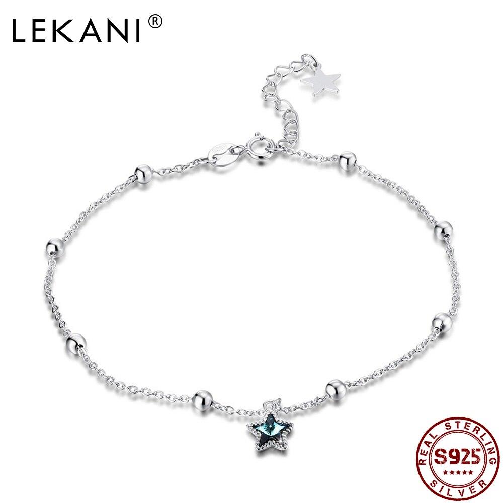 LEKANI réel argent 925 bleu étoile étoilée bracelets de cheville LEKANI cristal de Swarovski bracelets de cheville pour femmes Sexy plage pied bijoux cadeau nouveau