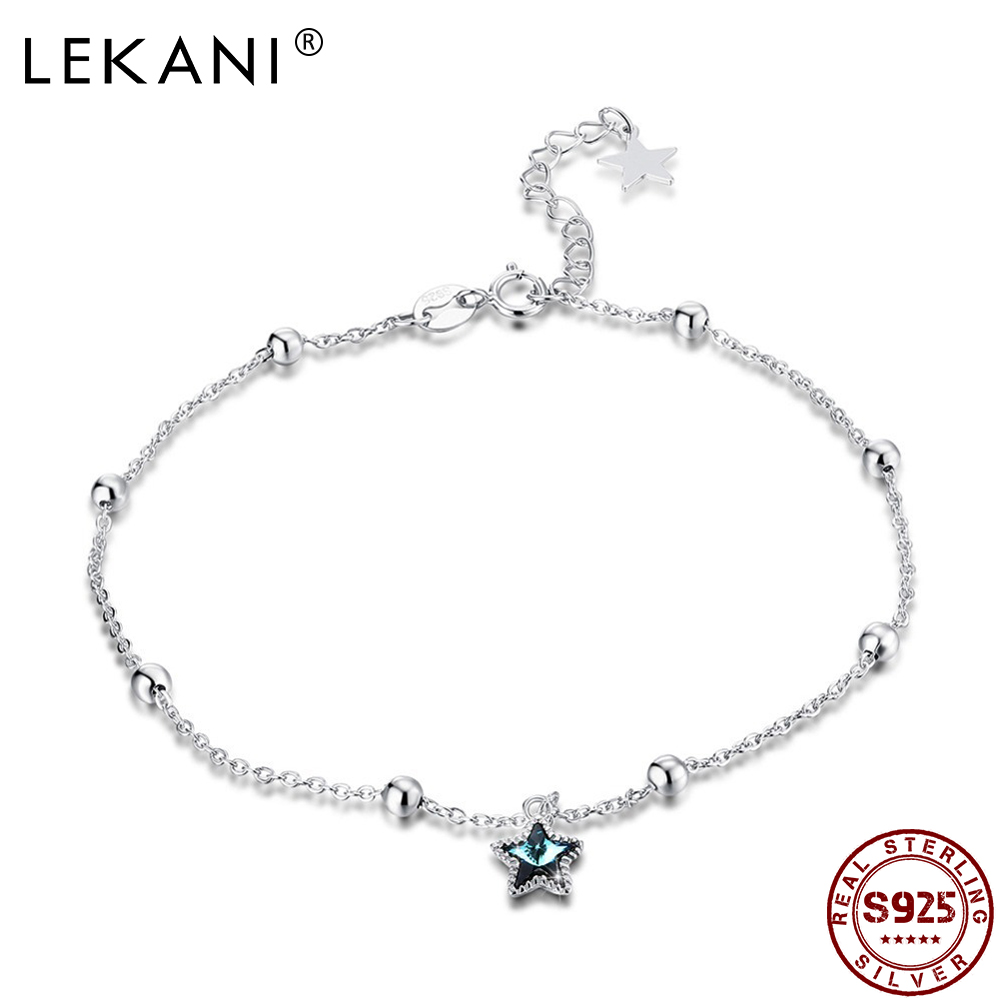 LEKANI Real Silver 925 Blue Star Starry Anklets LEKANI Crystal from Swarovski Anklets for Sexy Women Beach Foot Jewelry Gift NEW