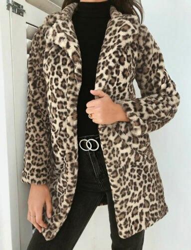 Fashion Women Leopard Winter Warm Faux Fur Long Sleeve Fashion Brown Coat Cardigan Outwear Coat Jacket