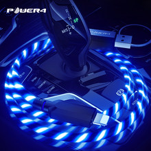 Power4 illuminated Micro USB C Charging Cable For iPhone Samsung Led USB Type-C Charging Wire For Lightning Apple Glowing Cable(China)