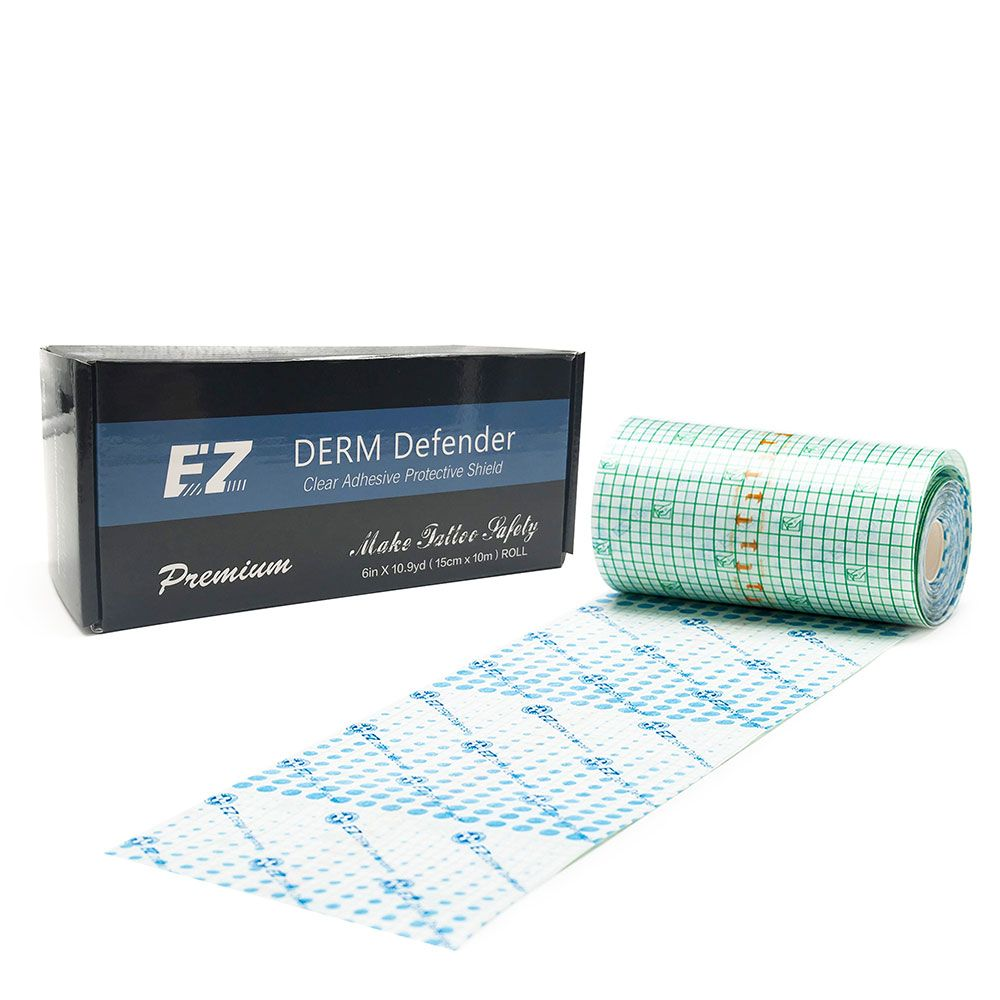 EZ Tattoo Film Derm Defender Tattoo Adhesive Protective Shield Tattoo After Care Supplies 6 In X 10.9yd Roll