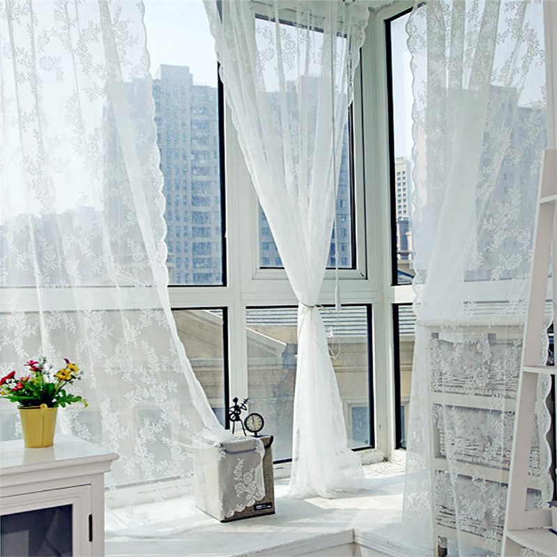 Hanging Blinds-Sheet Window-Curtain Voile Door-Decor Lace Tulle Cafe Perspective Pendant title=