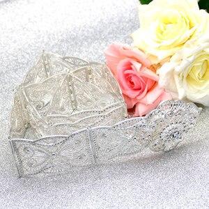 Image 2 - SUNSPICE MS ceinture en métal pour femmes, style floral, Caftan marocain, bijoux de mariage, longueur ajustable, couleur or argent