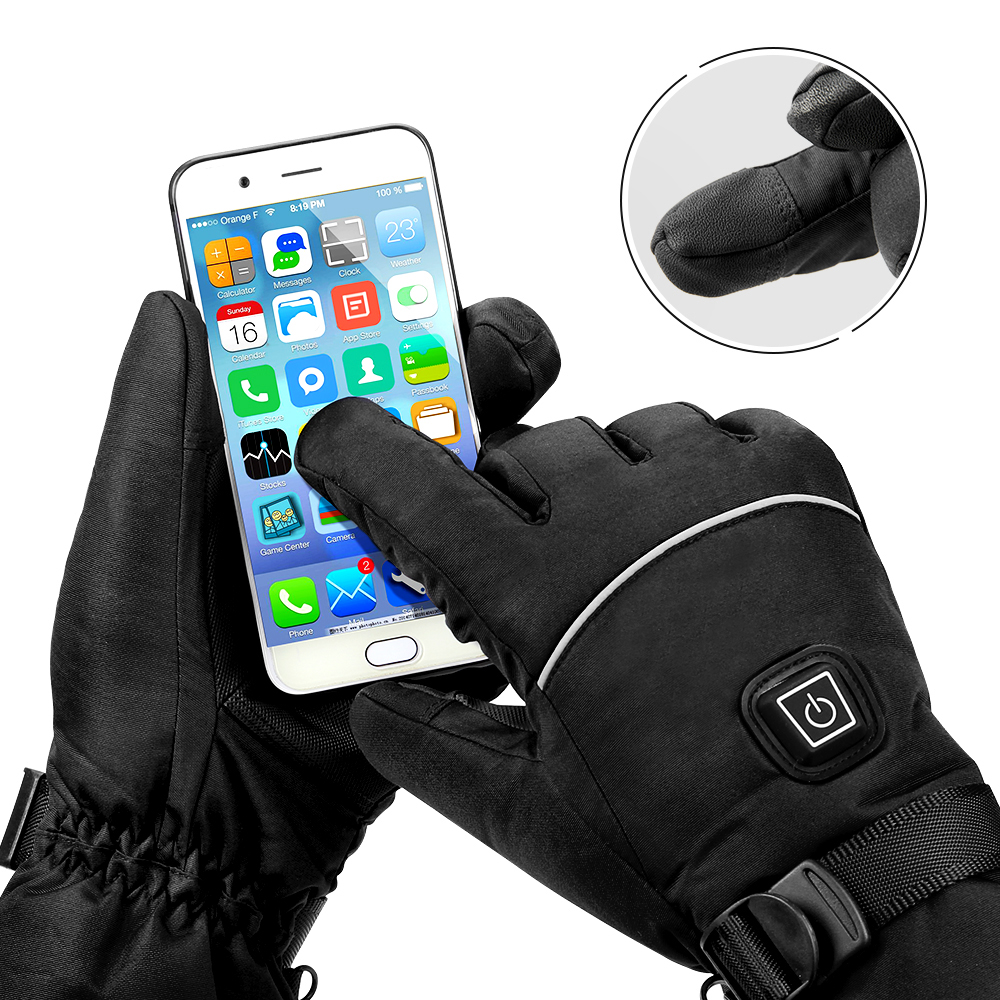 Image 4 - Winter Motorcycle Gloves Heating Guantes  Waterproof Moto Gloves 