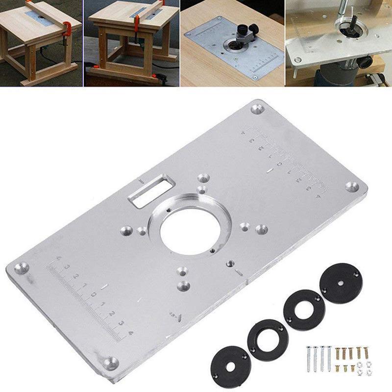 Placa de mesa do roteador 700c placa de inserção de mesa de alumínio + 4 anéis parafusos para bancos de madeira, 235mm x 120mm x 8mm (9.3 polegadas